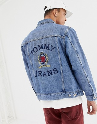 Tommy Jeans 6.0 limited capsule denim jacket with large crest back detail in mid wash denim