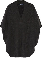 Splendid Sierra faux leather-trimmed cable-knit poncho