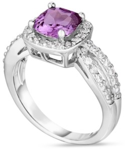 Macy's Simulated Birthstone Cushion Cubic Zirconia Halo Solitaire Ring in Fine Silver Plate