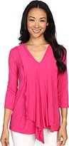 Miraclebody Jeans Women's Cerise Asymmetric Top