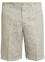 120% Lino Mid-rise Slim-leg Striped Linen Shorts