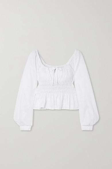Faithfull The Brand Net Sustain Bellano Shirred Linen Top