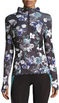 adidas by Stella McCartney Essentials Adizero Floral-Print Hooded Pullover, Black/Deepest Purple