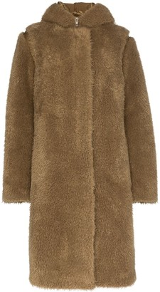 Helmut Lang Double-Layer Faux Fur Parka Coat