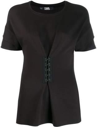 Karl Lagerfeld Paris peplum T-shirt with hook & eye detailing