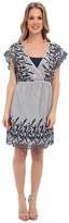 Vince Camuto TWO by Cotton Striping Emb. Dress