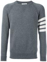Thom Browne Fully Fashioned French Terry Crewneck Sweatshirt With 4-Bar Stripe In Grey Cashmere