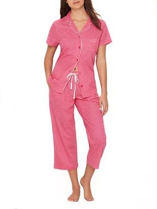 Karen Neuburger Polka Dot Girlfriend Knit Cropped Pajama Set