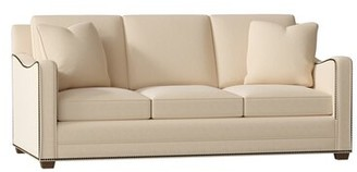 "Gabby Porter 84"" Recessed Arm Sofa Body Fabric: Avignon Ecru, Leg Color: Natural, Nailhead Detail: Nickel, Cushion Type: Spring Down"