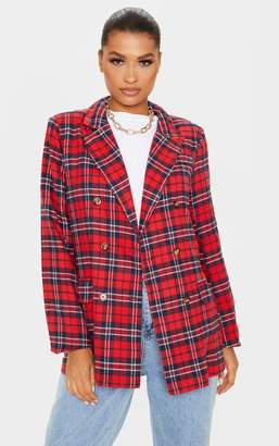 PrettyLittleThing Red Tartan Oversized Woven Blazer