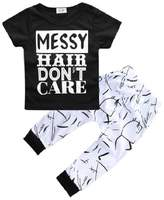 Hooyi Summer Baby Girl Clothes Set Messy Hair Don't Care