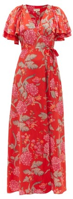 Beulah Florine Dahlia-print Silk Crepe De Chine Dress - Red Multi