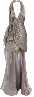 ZUHAIR MURAD Keefe Draped Silk-Blend LamA Mini Halter Dress