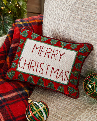 Sudha Pennathur Merry Christmas Pillow with Trees