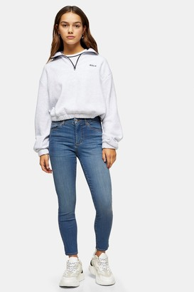 Topshop Womens Petite Mid Blue Leigh Jeans - Mid Stone