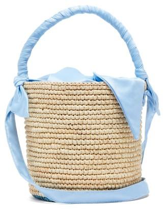 Sensi X Loulou De Saison Baby Straw Bucket Bag - Womens - Light Blue