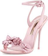Sophia Webster Lilico Floral Leather 100mm Sandal, Pink