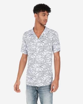 Express Slim Tropical Palm Print Revere Collar Shirt