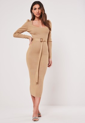 Missguided Sand Square Neck Belted Knitted Midaxi Dress