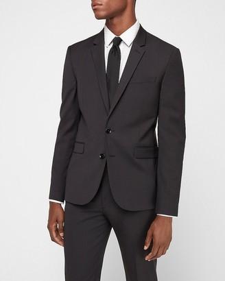 Express Extra Slim Plaid Charcoal Wrinkle-Resistant Performance Suit Jacket
