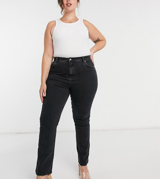 ASOS DESIGN Curve high rise '70's' kick flare jeans in washed black
