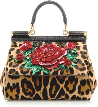 Dolce & Gabbana Sicily Embellished Leopard-Print Pony Hair Bag
