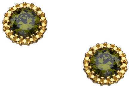 Athena Designs Gold and Peridot CZ Stud Earrings