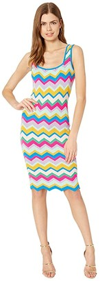 Milly Chevron Stripe Fitted Dress (Rainbow Multi) Women's Clothing