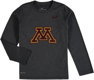 Nike Youth Anthracite Minnesota Golden Gophers Legend Logo Performance Long Sleeve T-Shirt