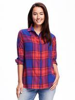 Old Navy Plaid Boyfriend Flannel Shirt for Women