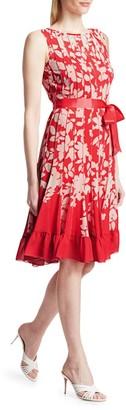 Teri Jon By Rickie Freeman Chiffon Floral Pleated Dress
