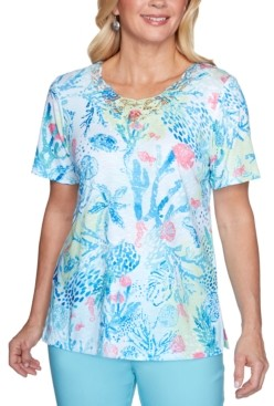 Alfred Dunner Sea You There Coral Reef Lace-Yoke Printed Top