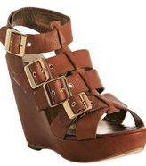 tobacco leather 'Harper' gladiator wedge sandals