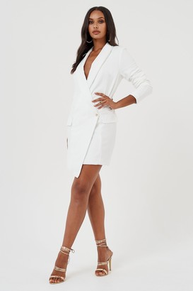 Glamorous Womens **White Wrap Over Blazer Dress By Club L - White