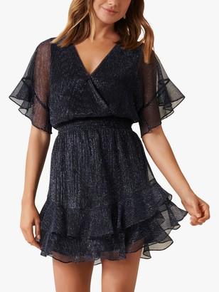 Forever New Sophie Metallic Plisse Mini Dress