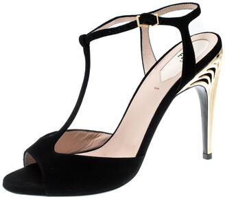 Fendi Black Suede Encaged T-Strap Metal Heel Sandals Size 38