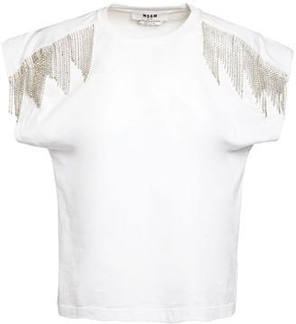 MSGM Crystal Embellished Jersey T-shirt