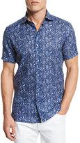Ermenegildo Zegna Floral Short-Sleeve Sport Shirt, Dark Blue