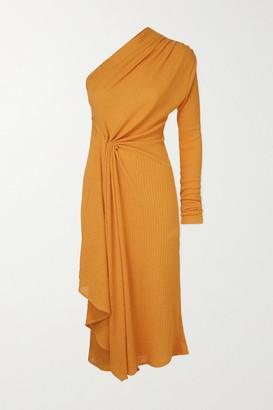 Dodo Bar Or Hannah One-sleeve Draped Ribbed Stretch-knit Midi Dress - Orange