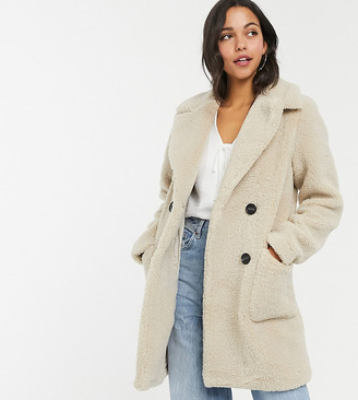 New Look Tall button front borg coat in cream