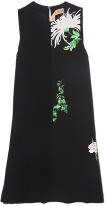 No.21 Sleeveless Flower Shift Dress in Stampa Fondo Nero