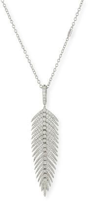 Sutra 18K White Gold Diamond Feather Pendant Necklace