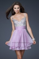La Femme Bejeweled Short Chiffon Party Dress 16813