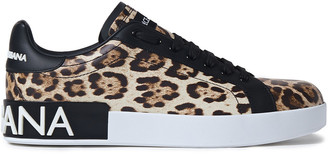 Dolce & Gabbana Monogram-trimmed Leopard-print Leather Sneakers