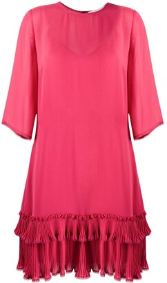 See by Chloe Pleated Ruffle Hem Shift Dress
