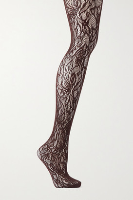 Dries Van Noten Floral Stretch-lace Tights - Brown