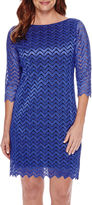Tiana B 3/4-Sleeve Chevron Lace Sheath Dress - Petite
