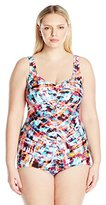 Maxine Of Hollywood Women's Bermuda Shirred Girl Leg One Piece Swimsuit