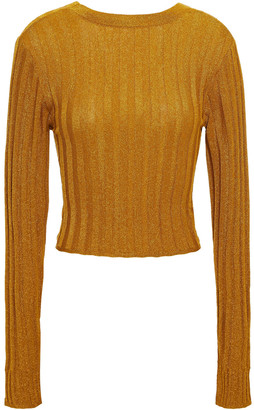 Missoni Cropped Metallic Ribbed-knit Top