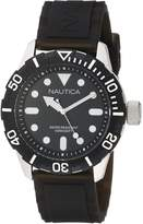 Nautica Men's Nsr 100 Watch A09600G with Black Dial and Black Silicone Strap